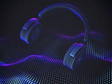 audio waves with headphones