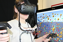 Student using virtual reality goggles