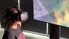 girl in VR headset viewing spaceport