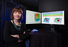 Leila De Floriani poses in front of her geometric modeling data sets